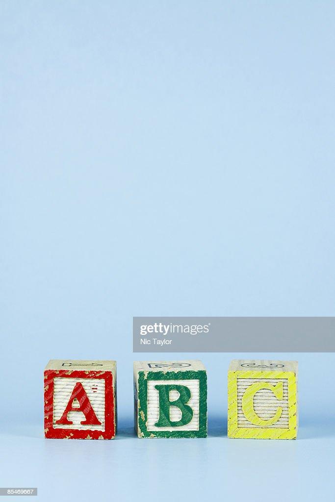 ABC Alphabet Blocks on Blue : Stock Photo