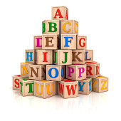 """Stack of alphabet letters , baby toys, wooden blocks.Digitally generated image."""