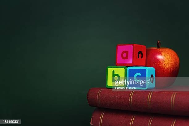 Alphabet blocks with apple