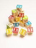 Alphabet building blocks spelling baby