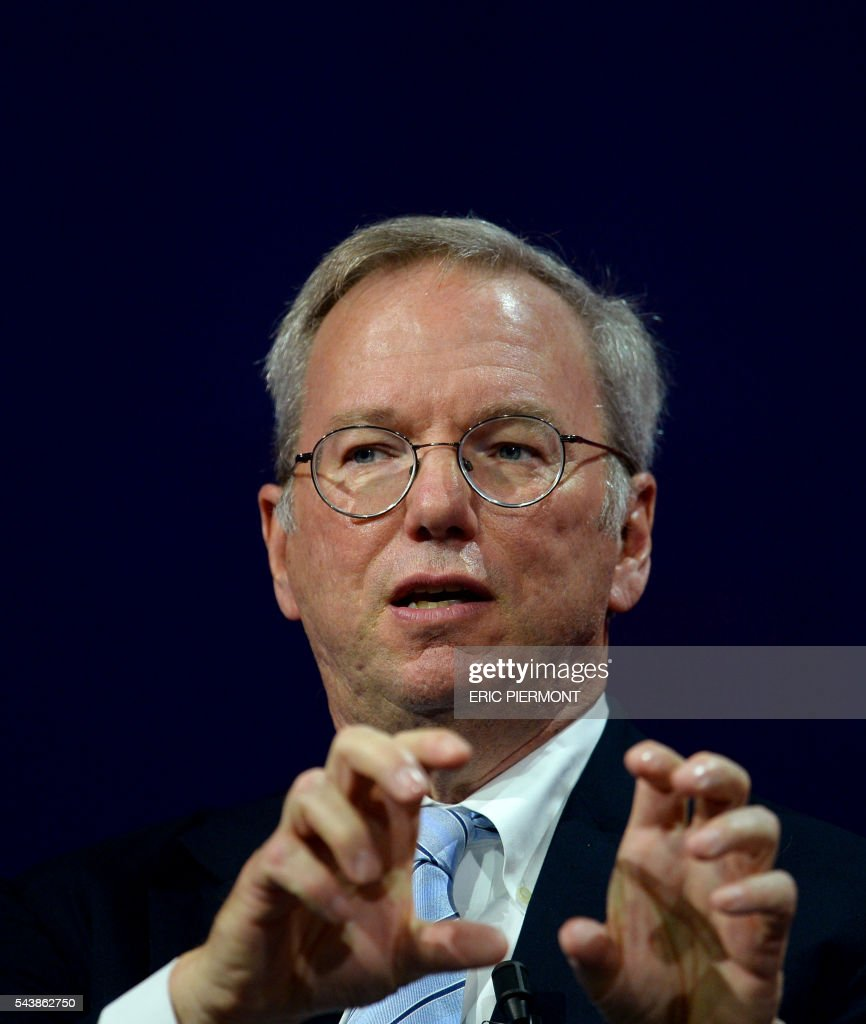Alphabet Inc Executive Chairman Eric Schmidt attends a session at the Viva technology event in Paris on June 30, 2016. / AFP / ERIC