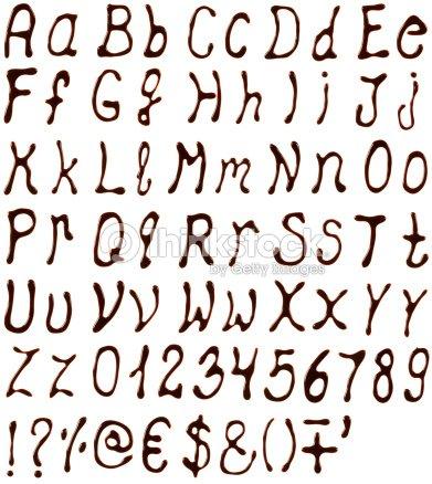Alphabet Buchstaben Zahlen Und Symbole Aus Schokolade Sirup Stock