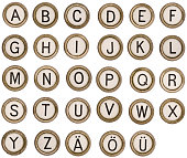 letters from an old typewriter. complete alpabet / abc and umlaut letters