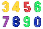 Magnetic numbers on a white background. Mix and match 'em. Shot in small groups with a telephoto for minimal pespective distortion and maximum size.