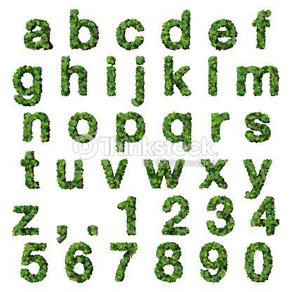 Alfabeto Con Números Fabricadas De Hojas Verdes Foto de stock ...