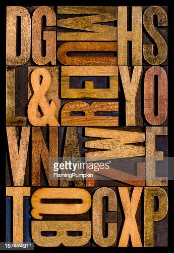 Alphabet - Wood Letters. Vertical.