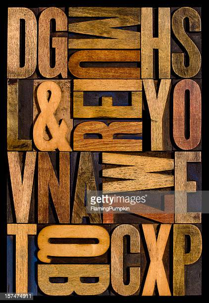 Alphabet - Wood Letters. Vertical.