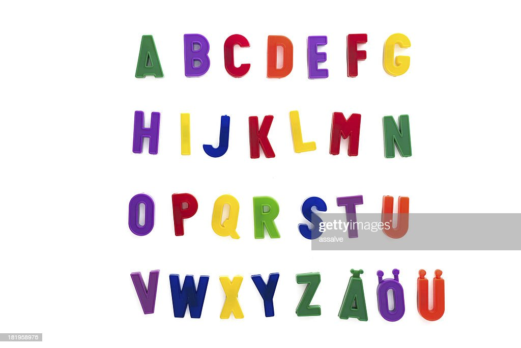 'alphabet written with magnetic letters included A, A, A'