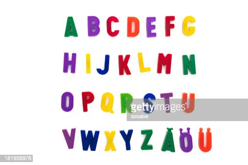 alphabet written with magnetic letters included ä, ö, ü