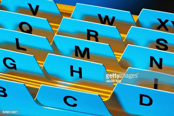 Alphabetisches Register zur Sortierung von Karteikarten Kundenadressen und Patientendaten