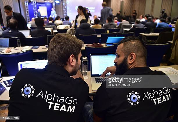 AlphaGo team members sit in a press room for the Google DeepMind Challenge Match at a hotel in Seoul on March 9 2016 A 3000yearold Chinese board game...