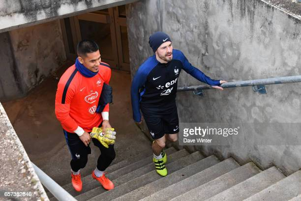 Alphonse Areola of France and Christophe Jallet of France during the training session before the FIFA World Cup 2018 qualifying match between...