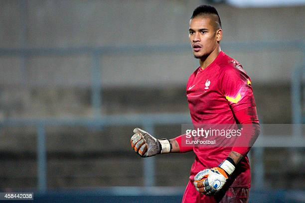 Alphonse Areola of France in action during the UEFA Under21 Championship qualifying match between Sweden and France in Orjans Vall Stadium on October...