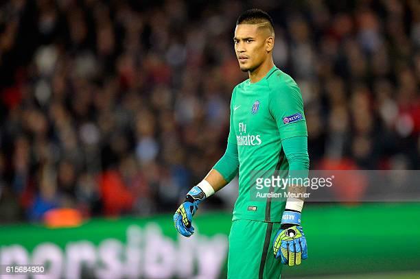 Alphonse Areola of Paris SaintGermain reacts during the UEFA Champions League match between Paris SaintGermain and FC Basel 1893 at Parc des Princes...