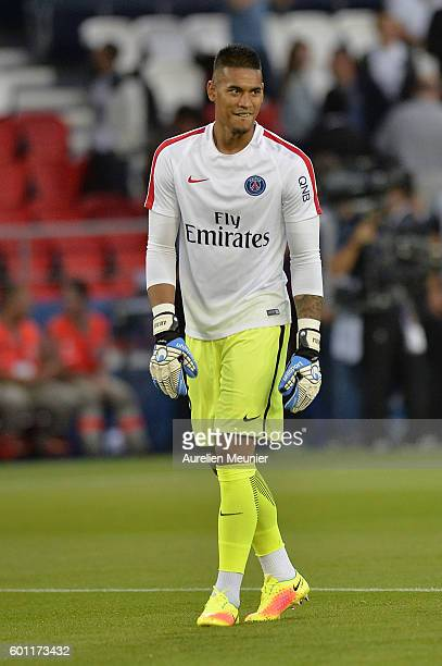 Alphonse Areola of Paris SaintGermain reacts during warmup before the Ligue 1 match between Paris SaintGermain and AS Saint Etienne at Parc des...