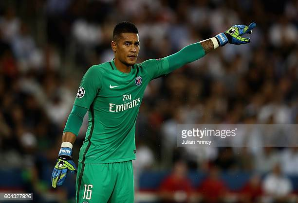 Alphonse Areola of PSG looks on during the UEFA Champions League Group A match between Paris SaintGermain and Arsenal FC at Parc des Princes on...