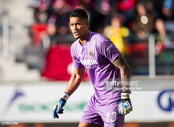 Alphonse Areola of Villarreal CF reacts during the La Liga match between SD Eibar and Villarreal CF at Ipurua Municipal Stadium on April 3 2016 in...