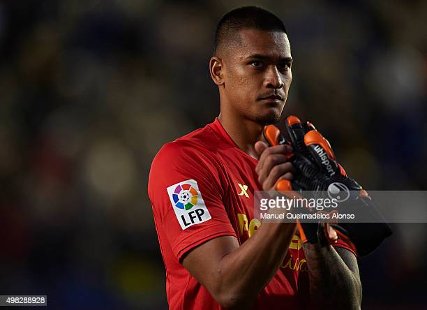 Alphonse Areola of Villarreal greets the fans during the La Liga match between Villarreal CF and SD Eibar at El Madrigal stadium on November 22 2015...