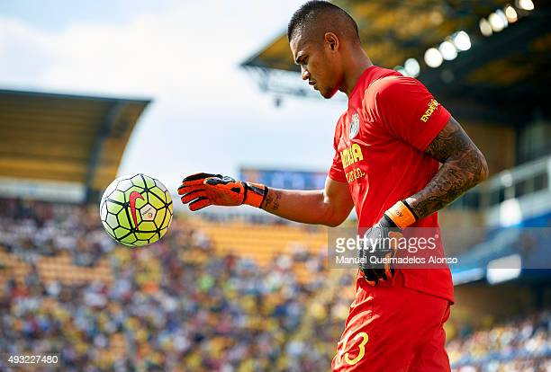 Alphonse Areola of Villarreal looks on during the La Liga match between Villarreal CF and RC Celta de Vigo at El Madrigal Stadium on October 18 2015...