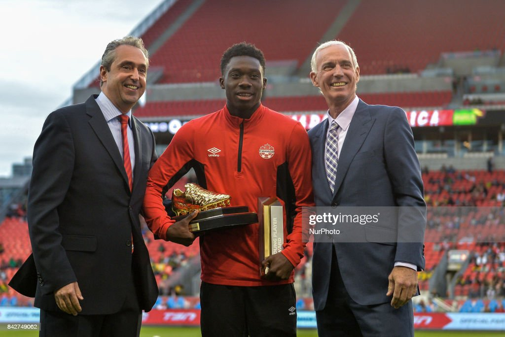 Alphonso Davies awards and the 2016 Canadian U-17 Player of the Year award before the Canada-Jamaica Mens International Friendly match at BMO Field in Toronto, Canada, on 2 September 2017.