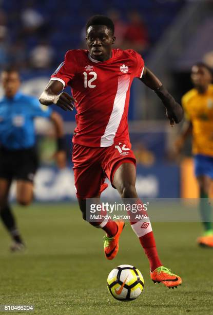 Alphonso Davies of Canada in actiont during the 2017 CONCACAF Gold Cup Group A match between French Guiana and Canada at Red Bull Arena on July 7...