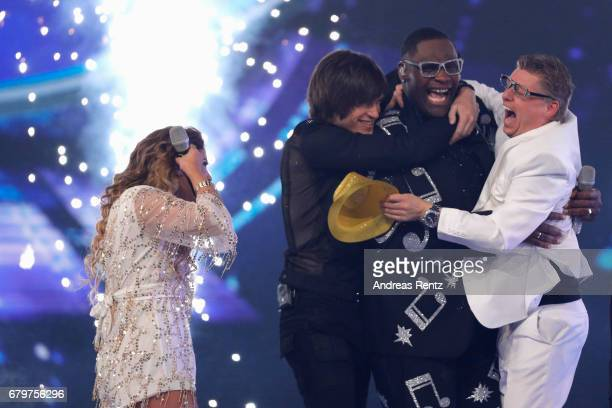 Alphonso Williams reacts to winning the 'Superstar 2017' title during the finals of the tv competition 'Deutschland sucht den Superstar' at Coloneum...