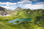 'alpin lake schreeksee in bavaria, allgau alps, germany'