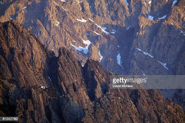 Alpine crags rise north of Mount Whitney the tallest peak in the continental US at 14494 feet in the Sierra Nevada Mountains which carry less snow...