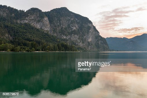 Alpine lake Mondsee sunset landscape : Stock Photo