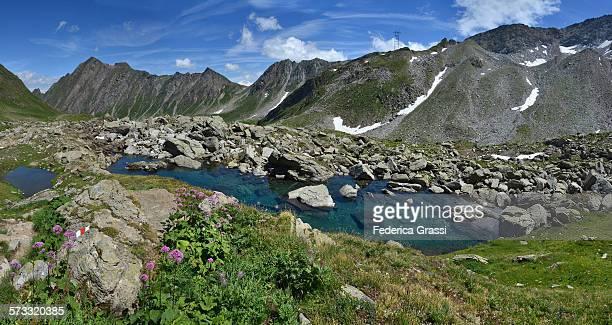 Alpine lakes and hiking trail, panorama