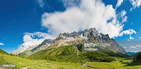 Alpine mountain peaks panorama idyllic summer meadows Italy
