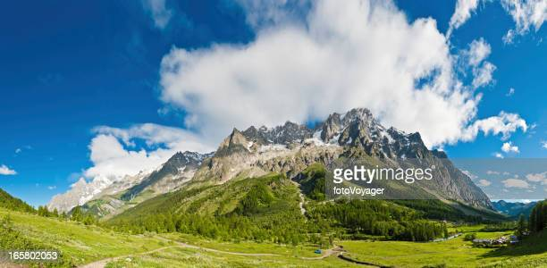 Alpine mountain peaks panorama idyllic summer meadows Italy