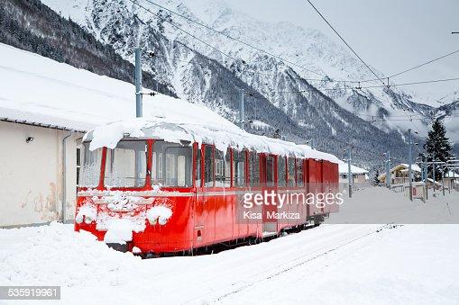 alpine red train Montenvers Mer de Glace in snow : Stock Photo