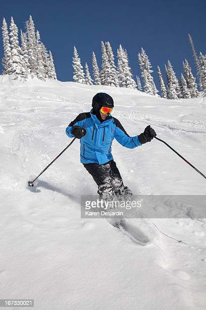 alpine skier in fresh powder snow