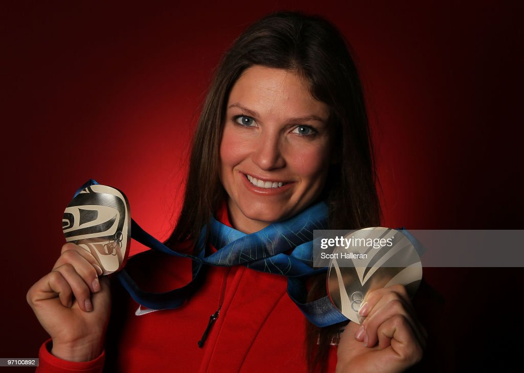 Alpine skier Julia Mancuso of the United States poses with her silver medals for the ladies' downhill and ladies' super combined in the NBC Today Show Studio at Grouse Mountain on February 26, 2010 in North Vancouver, Canada.