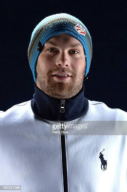 Alpine skier Travis Ganong poses for a portrait during the USOC Portrait Shoot on April 24 2013 in West Hollywood California