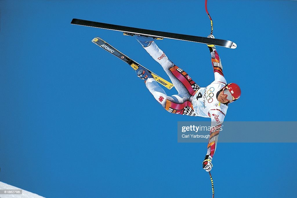 Alpine Skiing 1998 Winter Olympics AUT Herman Maier in action falling during downhill competition Nagano JPN 2/13/1998