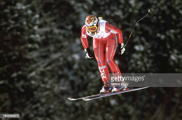 1998 Winter Olympics USA Picabo Street in action during Women's Downhill race at Happo One Resort Hakuba Japan 2/16/1998 CREDIT Simon Bruty