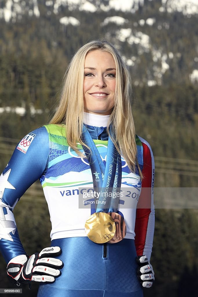 Portrait of USA medalist Lindsey Vonn (gold medal for Ladies' Downhill and bronze for Ladies' Super G) during photo shoot. Whistler, Canada 2/22/2010