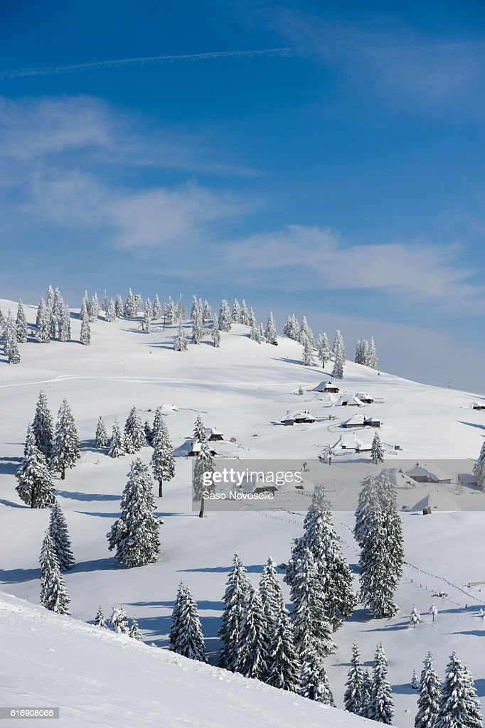 Alpine Village Covered With Snow : Stock Photo