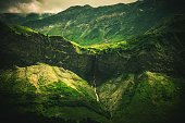 Alpine Waterfall Scenery. Scenic French Alps Landscape.