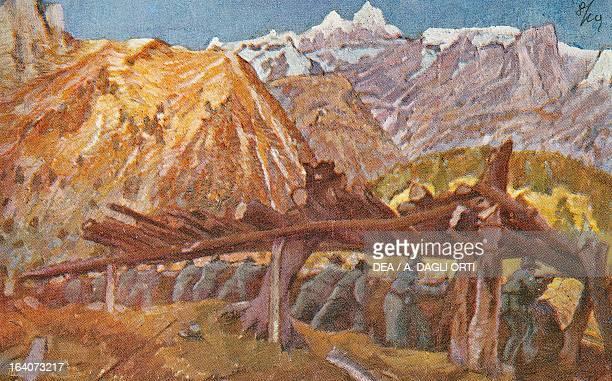 Alpini in the trenches in Giudicarie valleys Italian propaganda postcard by Tommaso Cascella Italian Red Cross edition third series No 17 World War I...