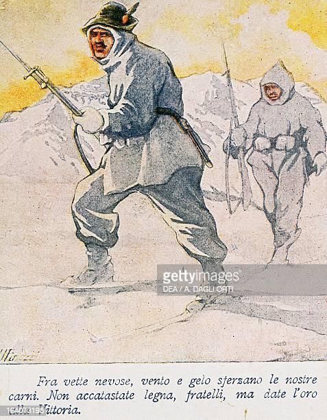 Alpini in white winter uniform Italian propaganda postcard created to financially support military operations World War I Italy 20th century Rovereto...