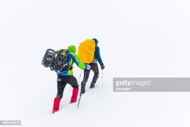 Alpinist are hiking on snowy plateau