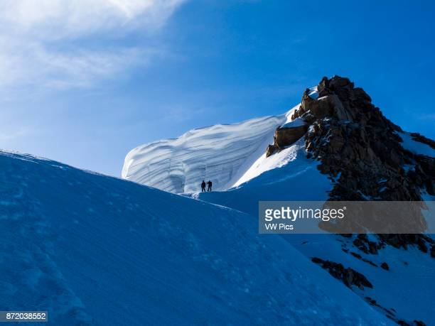 Alpinists in the Alps in the Mont Blanc massif