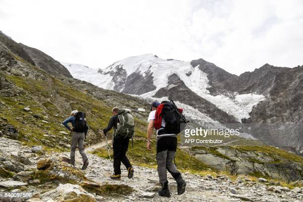 Alpinists walk on the 'voie royale' route to climb atop the MontBlanc peak after taking the MontBlanc Tramway at the highest station 'Le nid d'Aigle'...