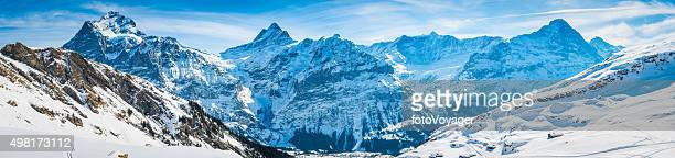 Alps iconic Swiss Alpine peaks panorama snowy winter wonderland Switzerland