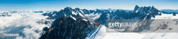 Alps mountaineers on Aiguille du Midi Mont Blanc Chamonix France