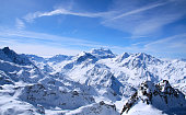 This is a photo taken from one of the highest points in Verbier in mars 2009. To the right in the picture can you discover a fascinating alpine hut.