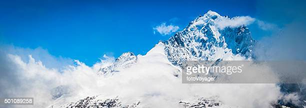 Alps snow capped mountain peaks panorama Aiguille Verte Chamonix France